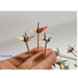 "#CP15a. Lot of 20pcs Floral Design 1.5"" Origami Crane Cake Topper, Cocktail Picker. (JD paper series)."