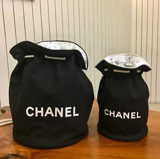 Chanel Bucket Canvas Small Large Cosmetic Bag