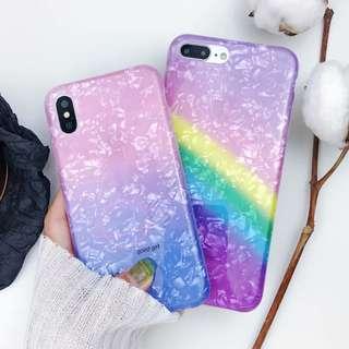 (W)手機殼IPhone6/7/8/plus/X : 漸變彩虹貝殼紋全包邊軟殼