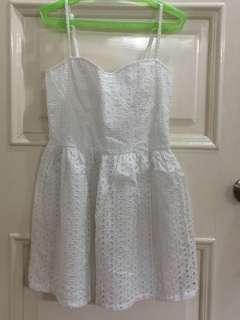 White Eyelet Dress with Corset style bodice