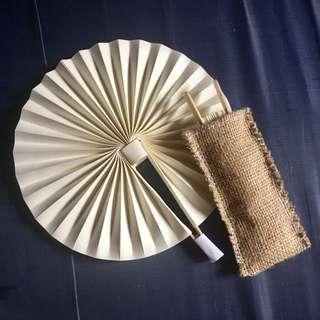 Paper Fan with Burlap Pouches