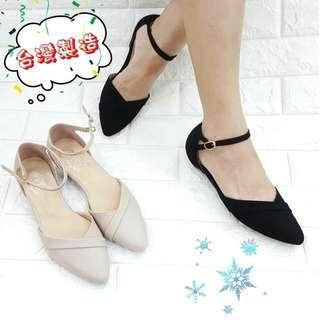 🔮時尚氣質女平底尖頭單鞋優雅顯瘦一字扣帶鞋