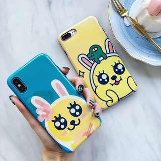 (W)手機殼IPhone6/7/8/plus/X : 情侶款鴨子blingbling眼藍光全包黑邊軟殼