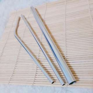 Stainless straw set (silver)