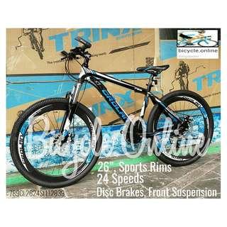 "Sports Rims CROLAN Mountain Bike / MTB ✩ 26"", 24 Speeds, Disc brakes, front suspension ✩ Brand New bicycles *789CL"