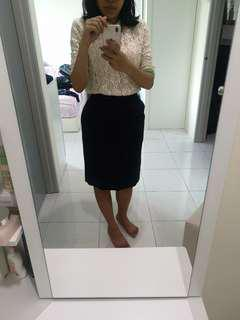 Navy blue office formal skirt #July70