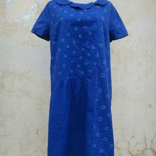 🚚 正品 a la sha 藍色 棉質洋裝 size: M