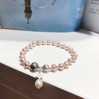 925銀天然粉紫珍珠+粉紫葡萄珍珠