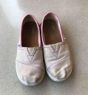 Sepatu Toms Youth Classic Pink Stripe Glimmer