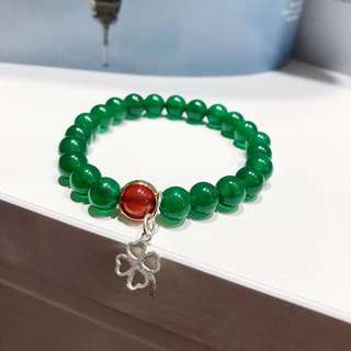 S925銀 天然綠玉髓+紅瑪瑙手鏈
