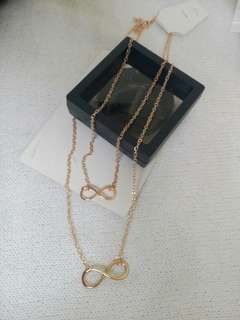 Golden Infinity Double Necklace
