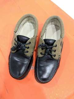 Mens Timberland Authentics 3-Eye Black Lug Leather and Fabric Boat Shoes (US 7)