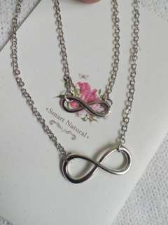 Silver Infinity double necklace
