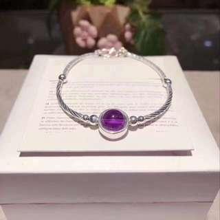 S925銀閃亮切面銀彎管 配天然紫晶手鏈