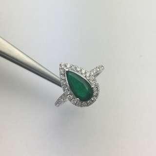 1卡27份綠寶 52份鑽石 18K白金戒指 1.27ct Emerald 0.52ct Diamond Ring 可議價