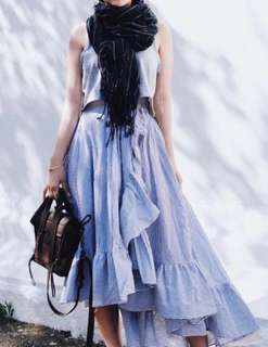 直條紋荷葉魚尾裙