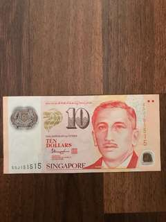 Singapore $10 notes with nice number