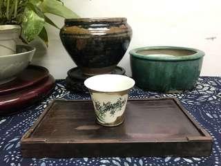 民國'益泰瓷社'描金開窗墨彩竹紋馬蹄杯#941,7*5.8cm左右,品相基本完整,