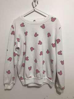 pink n white mickey mouse sweater