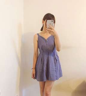 全新 條紋可愛微蓬裙洋裝