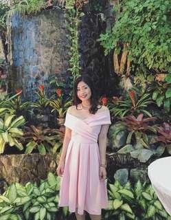 Pastel pink off-shoulder dress