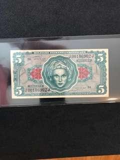 USA Military Payment Certificate $5 (Vietnam War Era)