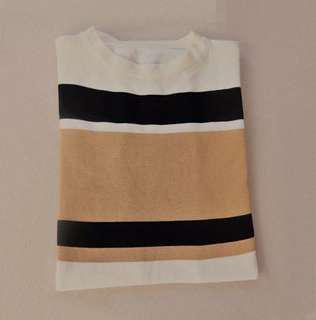 Beige-black-white stripe top