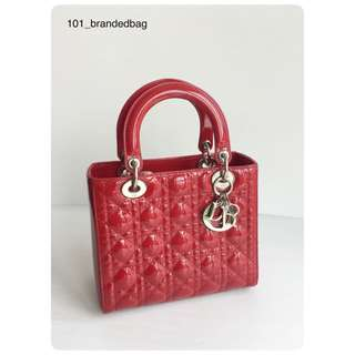 Christian Dior Patent Red Lady Dior Medium