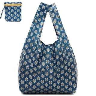 藍色經典印花折疊環保袋購物袋