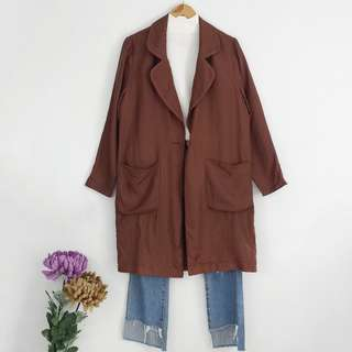 Dark Brown Jac+Jack Long Blazer Topper