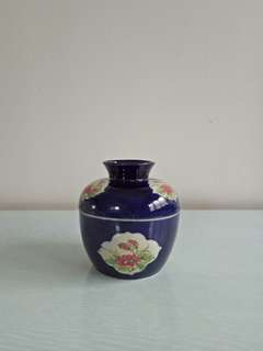 Republic Period Blue Jar With Cover Height 11cm Diameter 11cm