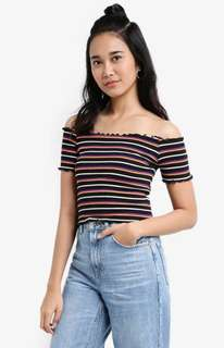 Rib knit offshoulder bodycon top