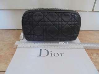 AUTHENTIC DIOR LAMBSKIN POUCH - BLACK