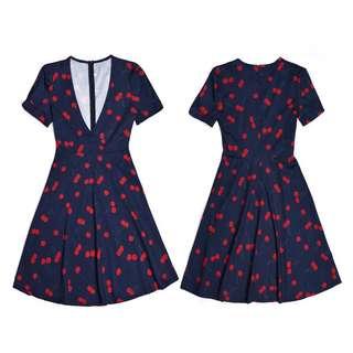 Cherry print overlap mini dress