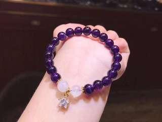 天然紫水晶🔮+藍光石手鏈 配14k金星星吊墜
