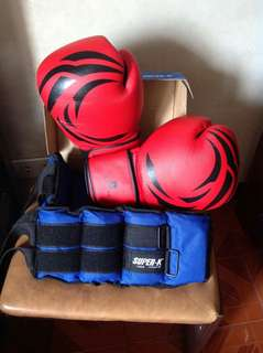 Super-K Weight Strap and Domyos Boxing Gloves