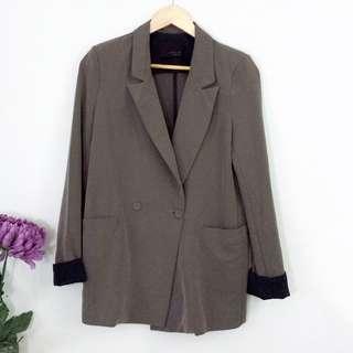 (S-M) Light Olive Green Lightweight Folded Sleeves Blazer Jacket