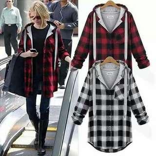 Checkered Jacket w/ Hoodie