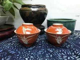 清晚珊瑚紅留白詩文蓋碗#3603,10*8cm左右,品相基本完整,對出價
