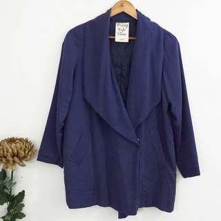 (S-M) Korean Style Dark Blue Long Lightweight Topper Jacket