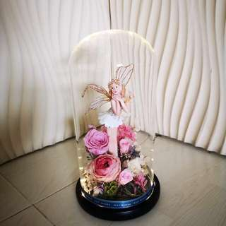 preserved flowers in a Jar with LED light (Austin Rose) limited edition