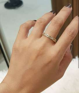 14k yellow gold eternity ring with 2 round diamonds and 9 princess cut diamonds size 6-6.5 ❤️BIG SALE P32k ONLY❤️ Swipe for detailed pics  Cash/card/layaway accepted