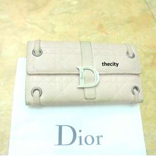 "AUTHENTIC DIOR ""LADY DIOR CANNAGE"" QUILTED LAMBSKIN WALLET - LIGHT PINK COLOR"