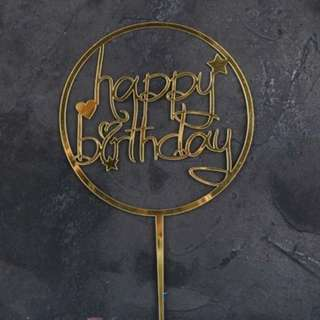 HAPPY BIRTHDAY TOPPER - GOLD ACRYLIC - WASHABLE - GOLD ROUND HEART STAR