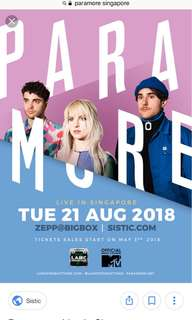 Paramore concert ticket with priority entry