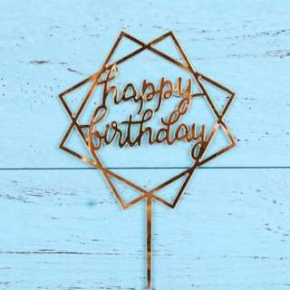 HAPPY BIRTHDAY TOPPER - GOLD ACRYLIC - WASHABLE - GOLD SQUARE