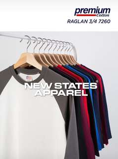 New States Apparel Raglan 3/4