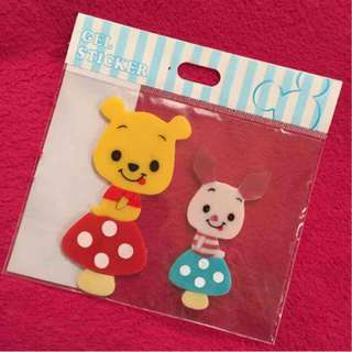 Last Piece Japan Disneystore Disney store Winnie the Pooh Piglet Gel Sticker
