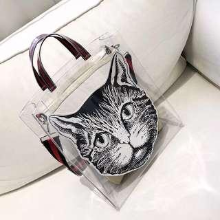 貓頭包2018夏新款透明包包果凍包托特包糖果 包單肩手拎大包購物袋