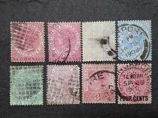 Malaya Straits Settlements 1892-1899 Queen Victoria Up To 30c With Surcharge - 8v Used Stamps